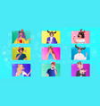 set people in festive hat celebrating new year vector image vector image