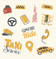 set taxi service icons driver yellow cap car vector image