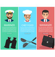 three upright images of professions with equipment vector image vector image