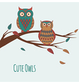 two cute colorful owls sitting on a branc vector image vector image