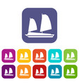 vietnamese junk boat icons set vector image vector image