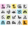camping set black icons signs and symbols vector image