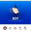 Boy icon in different style vector image