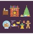 House Christmas room interior vector image