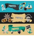 Banners on pirate theme with stickers and objects