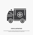 ambulance truck medical help van icon glyph gray vector image vector image