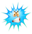 Angry face on blue splash vector image