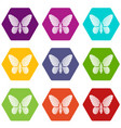 butterfly with striped pattern on wings icons set vector image vector image