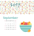 Calendar September 2017 Template Week vector image vector image