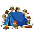 camping tent with many kids cartoon character vector image vector image