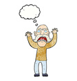 cartoon angry old man with thought bubble vector image vector image