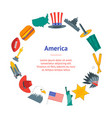 cartoon symbol of america banner card circle vector image vector image