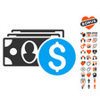 cash icon with lovely bonus vector image vector image