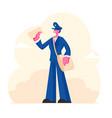 cheerful postman character wearing uniform and cap vector image