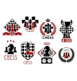 Chess game heraldic symbols and emblems vector image vector image