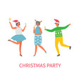 christmas party celebration of people in good mood vector image vector image