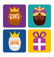 christmas three men kings and gift box celebration vector image vector image