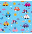 cute animals driving cars kids pattern vector image vector image