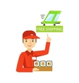 Delivery Service Worker In Red Uniform Holding A vector image vector image