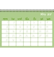 Desk calendar template for month May Week starts vector image vector image