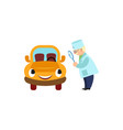 doctor looking at car through magnifying glass vector image