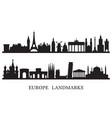 europe skyline landmarks silhouette vector image vector image