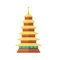flat cartoon japan pagoda icon vector image vector image