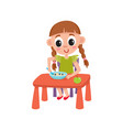 flat girl eats apple and porridge vector image