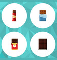 flat icon chocolate set of sweet dessert bitter vector image vector image