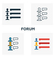 forum icon set four elements in diferent styles vector image vector image