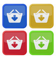 four square color icons shopping basket add vector image vector image