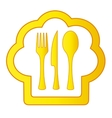 gold cook hat with kitchen utensil vector image