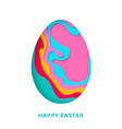 happy easter greetong card with easter colored vector image