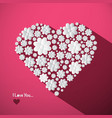 i love you concept with big heart made from paper vector image vector image