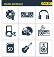 Icons set premium quality of sound symbols and vector image vector image
