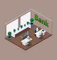 isometric office of the bank bank employees serv