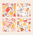 kitchen utencils seamless pattern set cooking vector image