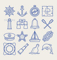 marine icon set in thin line style vector image