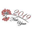 new year card design with rowan branch new year vector image