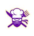 ninja chef crossed knife fork icon vector image vector image