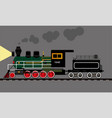 old soviet locomotive in night vector image
