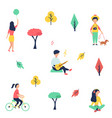 people at park resting and having fun vector image