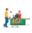 people shopping in supermarket vector image vector image
