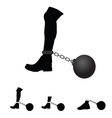 prison ball on leg vector image vector image