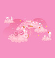 rainbow pink background sweets fabric pattern vector image vector image