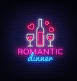romantic dinner neon logo wine neon sign vector image vector image