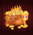 royal treasures in sack bag with gold and coins vector image vector image