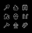 set line icons firefighting vector image vector image