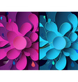 Set of abstract backgrounds with paper flower vector image