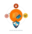 Set of flat design concept icons for secure online vector image